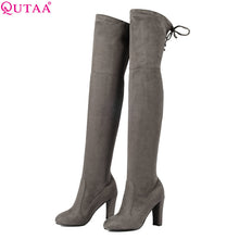 Load image into Gallery viewer, QUTAA 2018 Winter Warm Women Over The Knee Boots Keep Warm Short Pluch Fashion Sexy High Quality Motorcycle Boots Size 34-43
