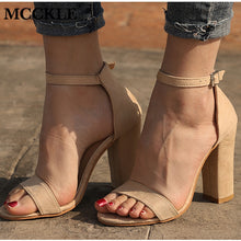 Load image into Gallery viewer, MCCKLE Women Flock Square Heel Sandals Buckle Strap Female Fashion Dress High Heels Woman Shoes For Girls Plus Size