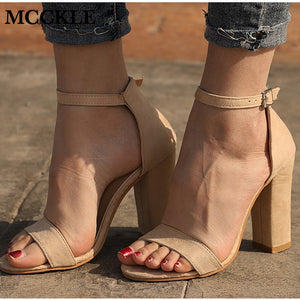 MCCKLE Women Flock Square Heel Sandals Buckle Strap Female Fashion Dress High Heels Woman Shoes For Girls Plus Size