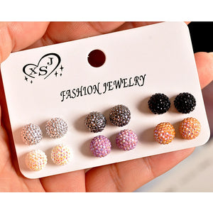 New fashion women accessories wholesale girls birthday party pearl earrings beautiful mix-and-match 6 pairs /set earrings
