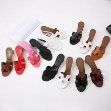 Load image into Gallery viewer, Summer variety of colors H ladies sandals ladies luxury design sandals real leather shoes flat shoes women's slippers