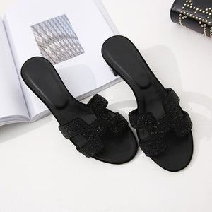 Summer variety of colors H ladies sandals ladies luxury design sandals real leather shoes flat shoes women's slippers