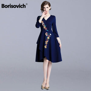 Borisovich Women Casual A-line Dress New Brand 2018 Autumn Fashion V-neck Floral Embroidery Elegant Ladies Party Dresses N336