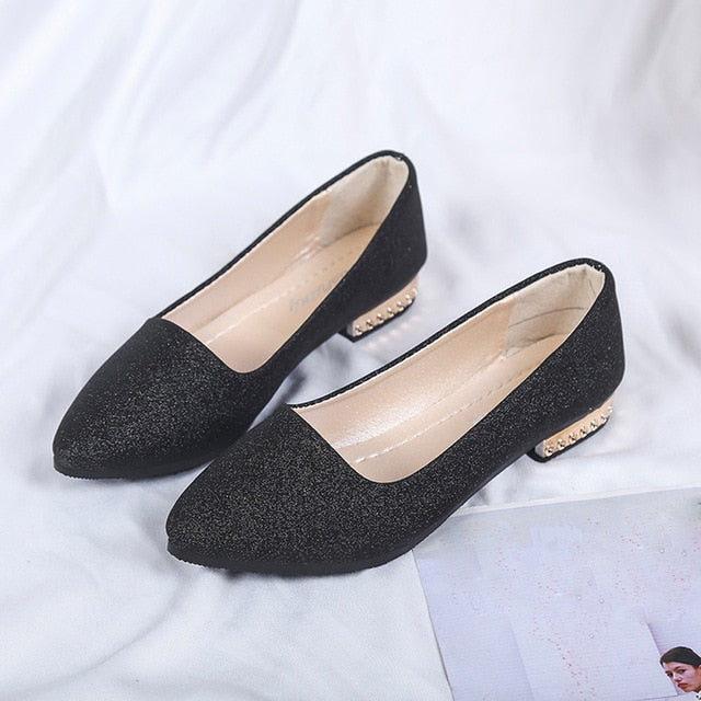 Women Sequins Shallow Slip On Low Heel  Party Shoes Pointed Single Shoes
