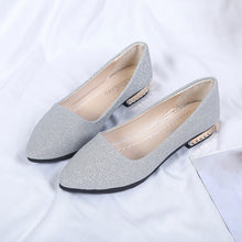 Load image into Gallery viewer, Women Sequins Shallow Slip On Low Heel  Party Shoes Pointed Single Shoes