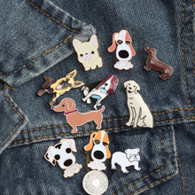 Load image into Gallery viewer, Free Shipping Fashion Cartoon Animal Brooch Metal Enamel Pins Badge 10 style Cute Dogs Shirt Sweater Denim Lapel Women Brooches