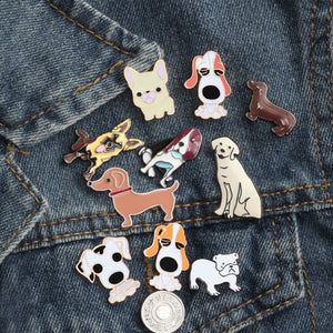 Free Shipping Fashion Cartoon Animal Brooch Metal Enamel Pins Badge 10 style Cute Dogs Shirt Sweater Denim Lapel Women Brooches