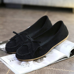 Women Loafers Tassel Bow-tie Slip On Flats 2018 Autumn Shoes Female Ballet Platform Casual Moccasins Ladies Fashion Footwear