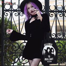 Load image into Gallery viewer, InstaHot Velvet Gothic Black Winter Dress Women Halloween Flare Sleeve Stars Mock Neck Midi Dresses Autumn Soft 2018 Fashion