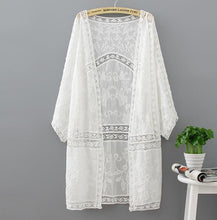 Load image into Gallery viewer, Cotton Summer Tops 2018 Fashion Casual White Shirt Embroidery Long Women Clothes Batwing Sleeve Loose Blouse Kimono Cardigan