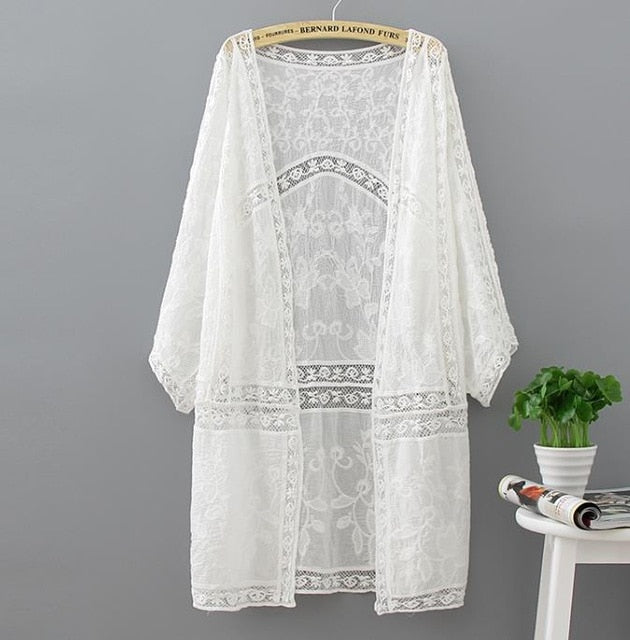 Cotton Summer Tops 2018 Fashion Casual White Shirt Embroidery Long Women Clothes Batwing Sleeve Loose Blouse Kimono Cardigan