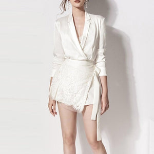 INDRESSME 2018 New Women White Dress V-Neck Long Sleeve Elegant Mini Dress Fashion Sexy Lady Party Dress