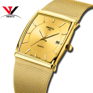 NIBOSI Golden Quartz Watch Men Watches relogio masculino Top Luxury Gold Bracelet Wrist Watches Steel Waterproof Male Clock