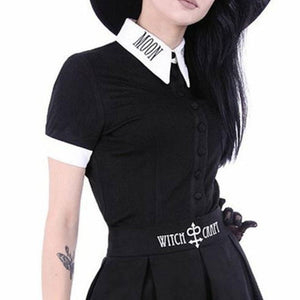 2018 Women Moon Letters Print Neck Gothic Vintage Short Sleeve Black Shirt Punk Harajuku Darkness Goth Blouse Plus Size