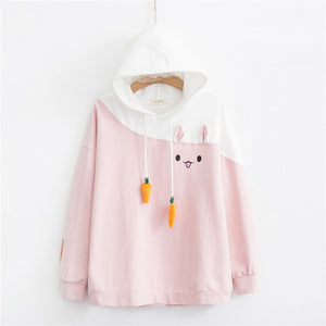 Merry Pretty Women Hoodies Animal Lovely Pullover Kawaii Rabbit Sweatshirt Cute Bunny Graphic Outerwear Pink Black Hoodie Girls