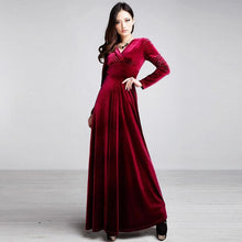 Load image into Gallery viewer, Autumn Women Pleuche Elegant Slim Clothes Female Long Sleeve Swing Dresses Fashion Solid Color Soft Touching High Waist Pegeant