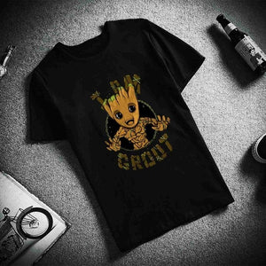 Fashion Short Sleeve T Shirt  Young Groot Avengers Hero Printed 100% Cotton Top Tees  Casual O Neck T-Shirt Unisex TShirt