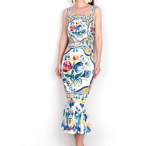 Dresses 2019 Luxury Blue and White Porcelain Print Spaghetti Strap Square Collar Mid-Calf Ladies Sexy Trumpet Sheath Dress