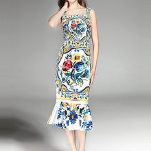Load image into Gallery viewer, Dresses 2019 Luxury Blue and White Porcelain Print Spaghetti Strap Square Collar Mid-Calf Ladies Sexy Trumpet Sheath Dress