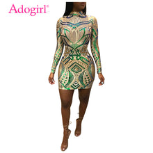 Load image into Gallery viewer, Adogirl Green Floral Sequins Bodycon Dress Turtleneck Long Sleeve Sheath Mini Evening Party Dresses Women Performance Outfits