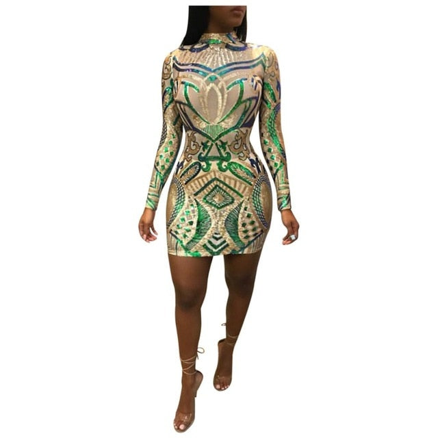 Adogirl Green Floral Sequins Bodycon Dress Turtleneck Long Sleeve Sheath Mini Evening Party Dresses Women Performance Outfits