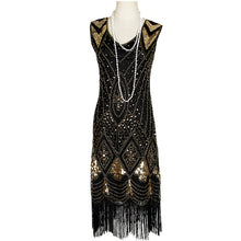Load image into Gallery viewer, New Great Gastby Flapper Dresses Vintage Sequin Bead Fringe Party Dress Women 1920s Embellished Sleeveless Art Deco Double