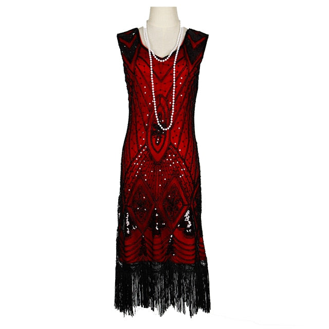 New Great Gastby Flapper Dresses Vintage Sequin Bead Fringe Party Dress Women 1920s Embellished Sleeveless Art Deco Double