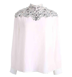 Luxury Style Plus Size Diamonds Lace Stand Collar Long Sleeve White Chiffon Blouse 2019 Women Loose Shirt Runway Pullover Tops
