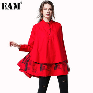 [EAM] 2019 New Spring Summer  Solid Colour Printed Blouse Long Sleeve Spliced Stand Big Size Loose Woman Shirt S05600L