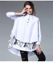 Load image into Gallery viewer, [EAM] 2019 New Spring Summer  Solid Colour Printed Blouse Long Sleeve Spliced Stand Big Size Loose Woman Shirt S05600L