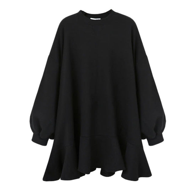 [EAM] 2019 New Spring  Winter Round Neck Long Sleeve Solid Color Black Loose Reffles Big Size Dress Women Fashion Tide JD94601M