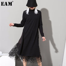 Load image into Gallery viewer, [EAM] 2019 New Spring  High Collar Long Sleeve Gauze Split Joint Two False Long Black Red Dress Women Fashion Tide 800011
