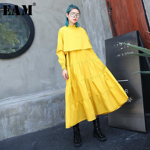 [EAM] 2019 New Spring  Winter Stand Collar Long Sleeve Black Pleated Stitch Loose Long Cake Dress Women Fashion Tide JH1