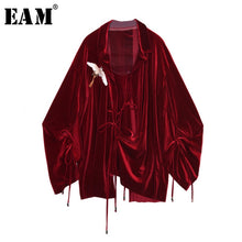 Load image into Gallery viewer, [EAM] 2019 Spring Summer  Loose Turn-down Collar Full Sleeve Vintage Crane Embroidery Drawstring Shirt Women Fashion Tide OB469