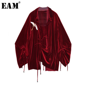 [EAM] 2019 Spring Summer  Loose Turn-down Collar Full Sleeve Vintage Crane Embroidery Drawstring Shirt Women Fashion Tide OB469