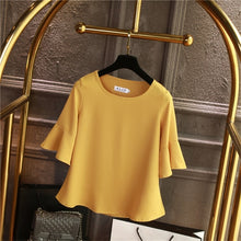 Load image into Gallery viewer, 2019 Summer obesity Chiffon Blouse Plus Size 6XL 5XL Women flare sleeve Beautiful Self-cultivati Shirt blouse Show thin