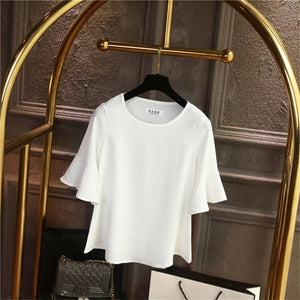 2019 Summer obesity Chiffon Blouse Plus Size 6XL 5XL Women flare sleeve Beautiful Self-cultivati Shirt blouse Show thin