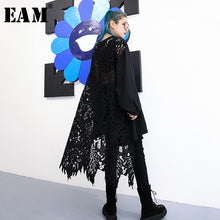 Load image into Gallery viewer, [EAM] 2019 New Spring  Winter Round Neck Long Sleeve Black Lace Hollow Out Irregular Loose Big Size Dress Women Fashion JH587