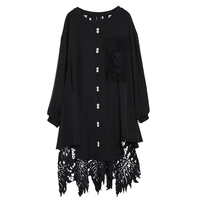 [EAM] 2019 New Spring  Winter Round Neck Long Sleeve Black Lace Hollow Out Irregular Loose Big Size Dress Women Fashion JH587