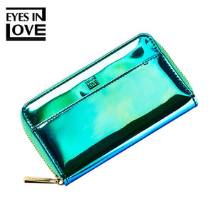 EYESINLOVE 2018 New Laser Holographic Wallet Women Purse Lady Clutch Bag Women Wallets Zipper Pocket Coin Purse Carteras Portfel