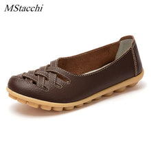 Load image into Gallery viewer, Mstacchi Summer Real Leather Shoes Woman Flats Shoes Cut-outs Breathable Oxford Shoes Slip on Ballet Casual Shoes Driving Shoes