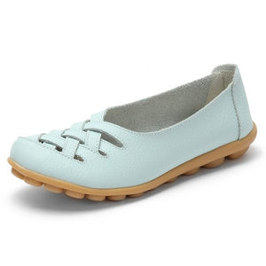 Mstacchi Summer Real Leather Shoes Woman Flats Shoes Cut-outs Breathable Oxford Shoes Slip on Ballet Casual Shoes Driving Shoes