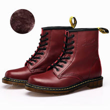 Load image into Gallery viewer, Ankle boots for women with fur women's leather boots Plus size Luxury women boots genuine leather Winter ladies martin shoes