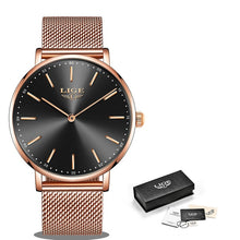 Load image into Gallery viewer, LIGE Super Slim Rose Gold Mesh Stainless Steel Watches Women Top Brand Luxury Casual Clock Ladies Wrist Watch Lady Reloj Mujer