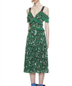 Self Portrait Dress 2019 Boho Clothing Women Sexy Cold Shoulder Green Floral Printed Backless Dresses