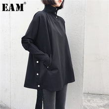 Load image into Gallery viewer, [EAM] 2019 New Spring High Collar Long Sleeve Black Hem Ribbon Split Joint Large Size Sweatshirt Women Fashion Tide JK259