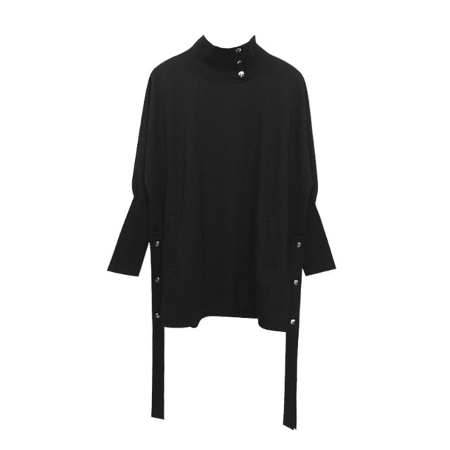 [EAM] 2019 New Spring High Collar Long Sleeve Black Hem Ribbon Split Joint Large Size Sweatshirt Women Fashion Tide JK259