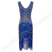 Load image into Gallery viewer, Women Party Dress 1920 s Great Gatsby Flapper Vestidos Sequin Bead Fringe Dress Evening V Neck Embellished Fringed Sleeveless