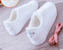 Load image into Gallery viewer, Women  winter fur simple flat shoes casual comfort warm print cute  Cat  fish   travel shoes platform shoes  sneakers women