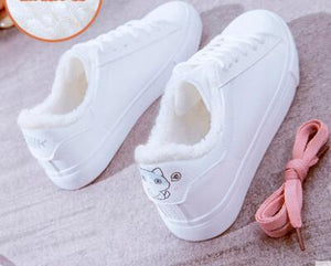 Women  winter fur simple flat shoes casual comfort warm print cute  Cat  fish   travel shoes platform shoes  sneakers women